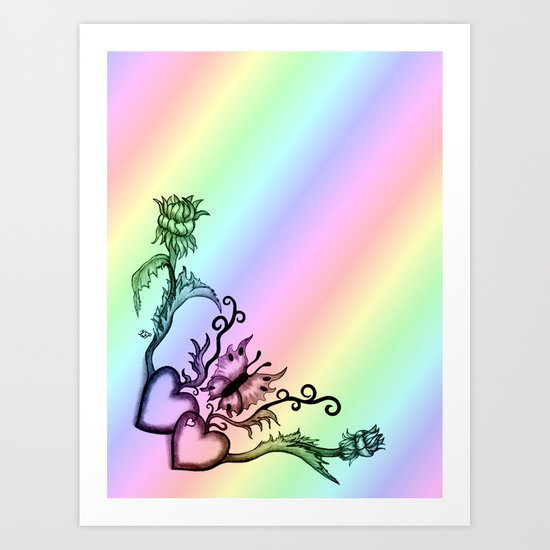 Heart with Butterfly and Flowers on Rainbow Art Print