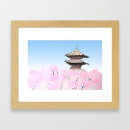 Temple and sakura Framed Art Print