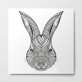 Cute Rabbit Head Hand Drawing Ornament Metal Print