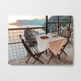 Vernazza sunset dinner view Cinque Terre Italy Fine Art Travel Print | Liguria Art Print Metal Print