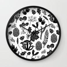 Linocut minimal botanical boho feathers nature inspired scandi black and white art Wall Clock