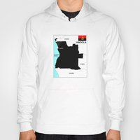 political Hoodies featuring political map of Angola country with flag by tony tudor