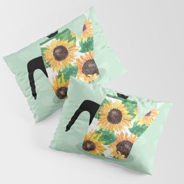 Watercolor Sunflower Coffee Kettle // Rise & Shine // It's Coffee Time Quote Typography Pillow Sham