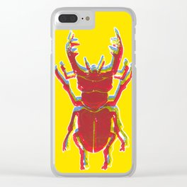 Stag Beetle Tricolore lino cut on yellow background Clear iPhone Case