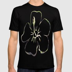 Flowers Black Mens Fitted Tee 2X-LARGE
