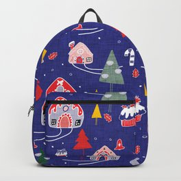 gingerbread house blue #Christmas #Holiday Backpack