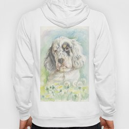 ENGLISH SETTER PUPPY Cute dog portrait on the dandelions meadow Hoody