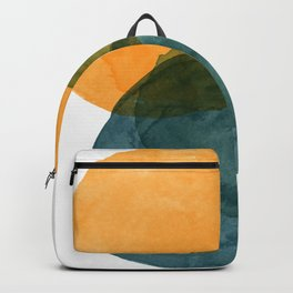 Watercolor Circles in Autumn Shades of Mustard and Teal Backpack