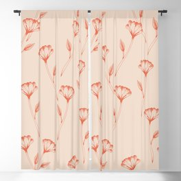 Flower repeat pattern in burnt orange inspired by tattoo style, boho chic illustration Blackout Curtain