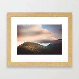 Misty Kazbek Mountain, foggy landscape, Georgia Framed Art Print