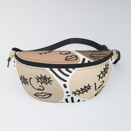 abstract faces mix Fanny Pack