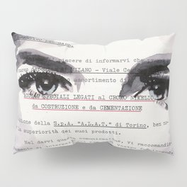 Veronica - ink drawing over vintage commercial invoice Pillow Sham