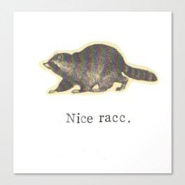 Nice Racc Vintage Raccoon Canvas Print