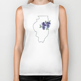 illinois // watercolor violet state flower map Biker Tank