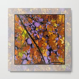 AUTUMN SUNLIT OAK LEAVES OVER MOONLIT FIREWOOD Metal Print