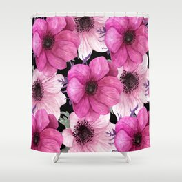 Elegant Floral Pageantry in Pretty Pink Pattern Shower Curtain