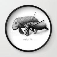 manatee Wall Clocks featuring  Manatee by Кaterina Кalinich