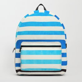 Cerulean Blue Minimalist Abstract Mid Century Modern Staggered Thin Stripes Watercolor Painting Backpack
