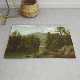 A View On Lake George 1876 By David Johnson | Reproduction | Romanticism Landscape Painter Rug