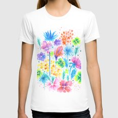 Floral XVI White Womens Fitted Tee MEDIUM
