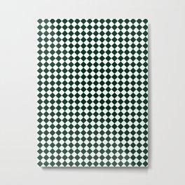 Small Diamonds - White and Deep Green Metal Print