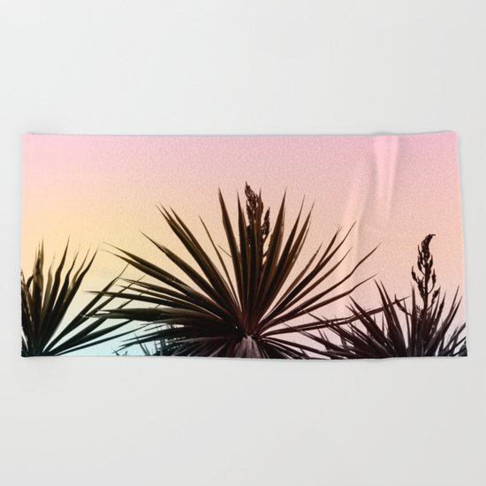 Sunset tropical palms Beach Towel