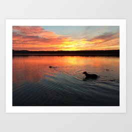 sunset on silver lake Art Print