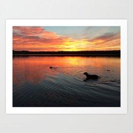 sunset on silver lake Art Print
