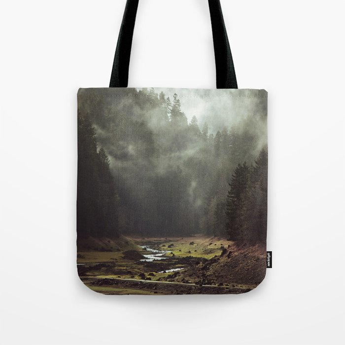 Foggy Forest Creek Tote Bag