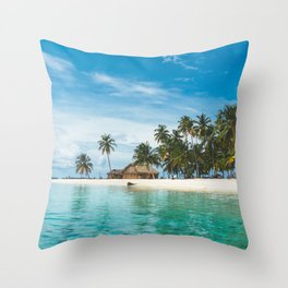 Huts on the San Blas Islands, Panama Throw Pillow