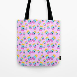 cute blue and pink cupcakes with golden crown baby junior pattern design Tote Bag