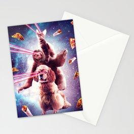 Laser Eyes Space Cat Riding Sloth, Dog - Rainbow Stationery Cards