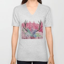 Floral stag antlers Unisex V-Neck