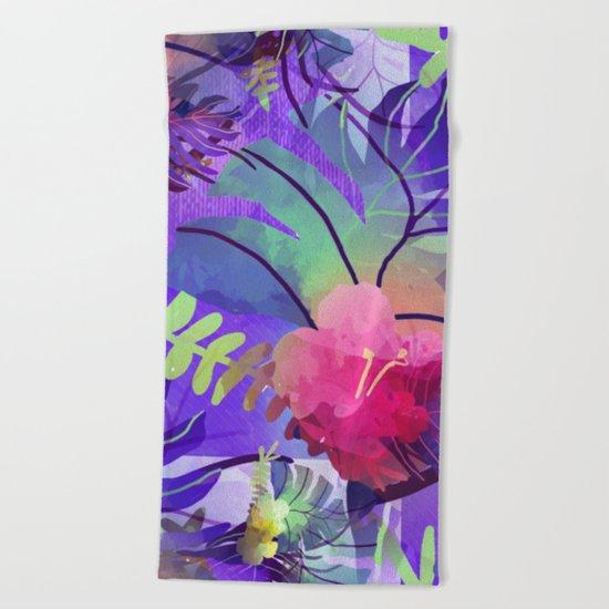 Purple Tropics Beach Towel