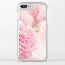 Pretty Pink Carnation Flowers Photograph Clear iPhone Case