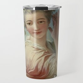 """Jean-Honoré Fragonard """"A Young Woman Adorning Her Powdered Coiffure With a Spray of Roses"""" Travel Mug"""