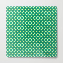 Emerald Green With Yellow Polka Dots Metal Print