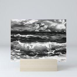 stormy sea waves reacbw Mini Art Print