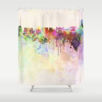 rio de janeiro Shower Curtains featuring Rio de Janeiro skyline in watercolor background by Paulrommer