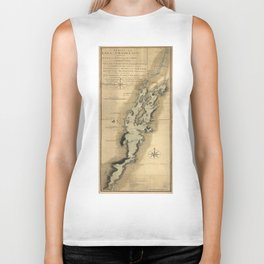 Vintage Map of Lake Champlain (1865) Biker Tank