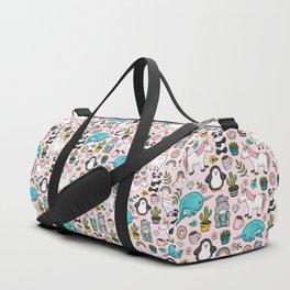 Llama and Friends, Tween Print, Narwhal, Panda,Unicorns, Penguins, Emoji Art Print Duffle Bag