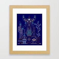 Santa Fe Garden – Navy Framed Art Print