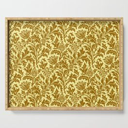 William Morris Thistle Damask in Mustard Gold Serving Tray