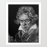 beethoven Art Prints featuring Beethoven by Sean Villegas