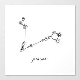 Pisces Floral Zodiac Constellation Canvas Print