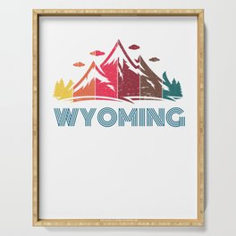 Retro Distressed Wyoming Design for Men Women and Kids Serving Tray