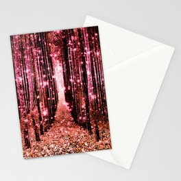 Magical Forest Vibrant Pink Living Coral Stationery Cards