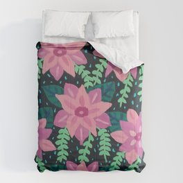 Colorful Abstract Floral on Black Comforters