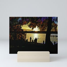 Stained Glass Sunset Mini Art Print