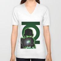 green lantern V-neck T-shirts featuring Green Lantern by Adam Surin Max